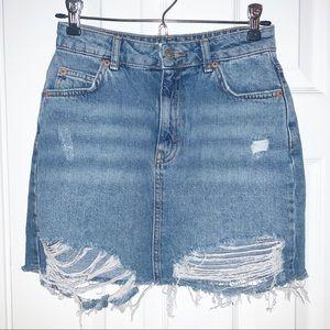 Topshop Moto Distressed Denim Skirt Sz 2